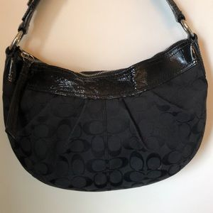 Coach Classic Black Purse with Patent Leather Trim